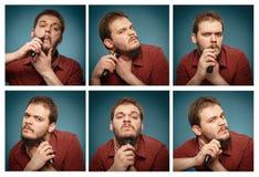 Colagem dos retratos: Equipe quem barbeia sua barba com um ajustador Fotografia de Stock