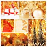 Colagem dourada de decorações do Natal Fotos de Stock