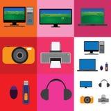 Colagem eletrônica dos dispositivos - televisão, câmera Fotos de Stock Royalty Free