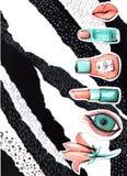 Colagem em um estilo do compartimento de forma com os bordos e os olhos loucos da menina Close-up da boca e dos olhos da menina c ilustração royalty free