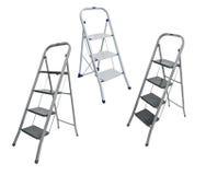Colagem, escada do metal isolada no branco Imagem de Stock Royalty Free