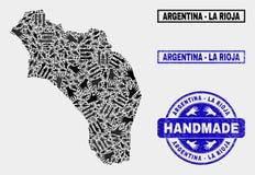 Colagem feito a mão de La Rioja do mapa de Argentina e de selo Textured ilustração do vetor