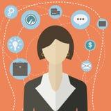Colagem infographic do ícone da mulher de negócios moderna lisa do estilo Vector a ilustração da mulher de negócio com ícones do  Foto de Stock Royalty Free