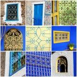 Colagem marroquina das janelas Fotografia de Stock Royalty Free