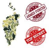 Colagem militar da camuflagem do mapa de Krasnoyarsk Krai e selos secretos riscados ilustração do vetor