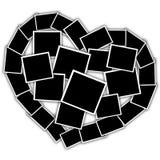 Colagem na forma de um coração, quadros vazios Fotografia de Stock Royalty Free