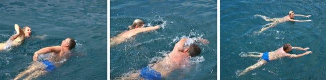 Colagem - nadadores no mar imagens de stock royalty free