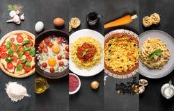 Colagem natural do alimento (placas no quadro preto) Imagens de Stock