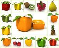 Colagem original do fruto Fotos de Stock Royalty Free