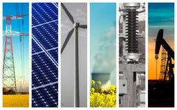 Colagem panorâmico do poder e os conceitos e os produtos da energia fotografia de stock