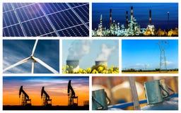 Colagem panorâmico do poder e os conceitos e os produtos da energia fotografia de stock royalty free