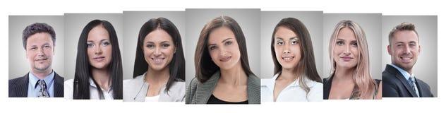 Colagem panorâmico dos retratos de empresários novos fotografia de stock
