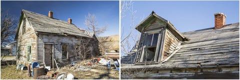 Colagem podre suja da jarda da casa da construção do toxicômano Foto de Stock