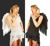 Colagem preto e branco dos anjos Imagem de Stock