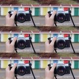 Colagem retro da câmera Imagens de Stock