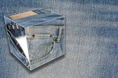 Colagem sobre calças de brim com um espaço da cópia Imagens de Stock Royalty Free