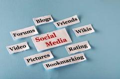 Colagem social dos meios Fotografia de Stock