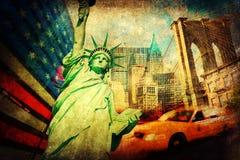 Colagem Textured dos símbolos de New York City imagens de stock