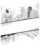 Colagem urbana com um portal Imagem de Stock Royalty Free