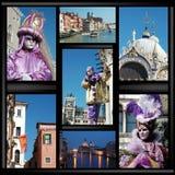 Colagem velha de Veneza com máscaras imagens de stock
