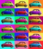 Colagem velha do carro do vintage colorida Indústria italiana Em pilhas coloridas Fotos de Stock