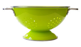 Colander. A bright green colander. Isolated on white Royalty Free Stock Image