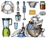 Colander, blender and juicer, dirty dishes, jam and sponge for washing. Chef and dirty kitchen utensils, cooking stuff royalty free illustration