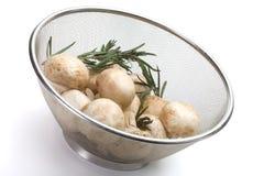 Colander of fresh-cut mushrooms champignon. Over white background stock photos