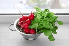 Colander with fresh radish. On windowsill Royalty Free Stock Image