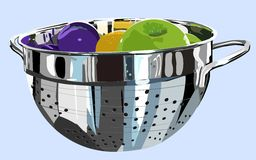 Colander and fruit Royalty Free Stock Photos