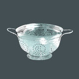 Colander. Hand drawn illustration, isolated royalty free stock image