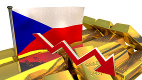 Colapso da moeda - coroa checa Fotos de Stock Royalty Free