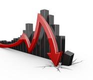 Colapso vermelho da seta Imagens de Stock