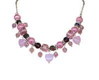 Colar cor-de-rosa com corações Fotografia de Stock