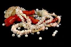 Colar, coral, p?rolas e escudos em um fundo preto foto de stock