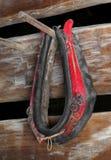 Colar de cavalo vermelho velho Fotografia de Stock