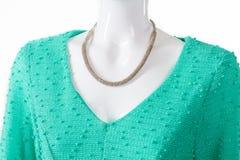 Colar delicada com vestido de turquesa Imagem de Stock Royalty Free