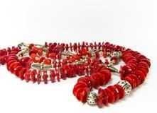 Colar do grânulo do coral vermelho Fotografia de Stock