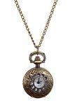 Colar isolada do relógio de bolso da mulher do estilo do vintage Fotografia de Stock Royalty Free