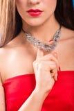 Colar no pescoço rubi e esmeralda Imagens de Stock