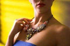 Colar no pescoço rubi e esmeralda Imagem de Stock