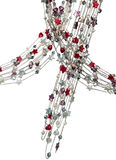 Colares de prata com corações coloridos das pérolas e das estrelas Imagens de Stock Royalty Free