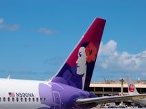 Colas de los aeroplanos de Hawaiian Airlines y de Japan Airlines imagenes de archivo