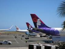 Colas de los aeroplanos de Hawaiian Airlines y de Japan Airlines como ellos foto de archivo libre de regalías