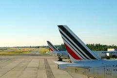 Colas de los aviones de Air France Indicador francés imágenes de archivo libres de regalías
