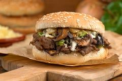 Colata del fungo del formaggio e della bistecca Immagini Stock Libere da Diritti