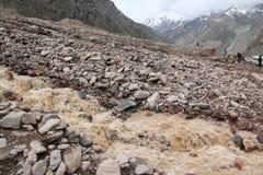 Colata di fango nelle montagne Fotografia Stock