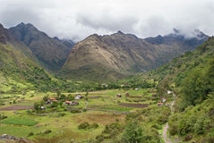 Colca Bamba wioska i dolina - zaczynający Santa Cruz w Cordillera Blanca Obraz Royalty Free