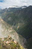 Colca Canyon. Seen from its top down into the valley Stock Photo