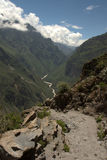 Colca Canyon. Seen from its top down into the valley Royalty Free Stock Images